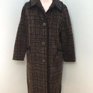 Vintage Bromleigh M Wool Black Brown Long Coat